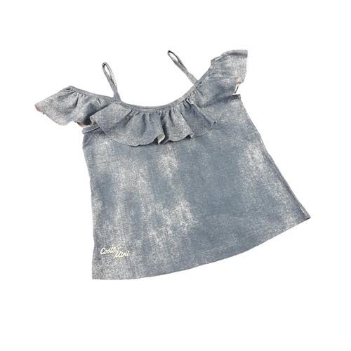 Blusa Ciganinha Infantil Imita Jeans - Moderna Fashion
