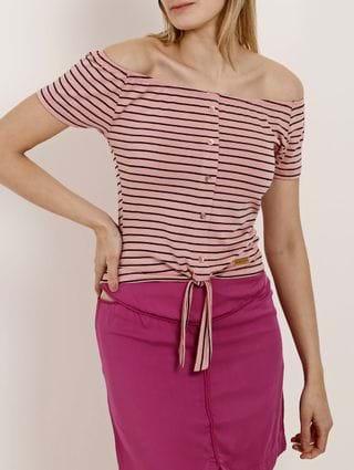 Blusa Ciganinha Manga Curta Feminina Rosa