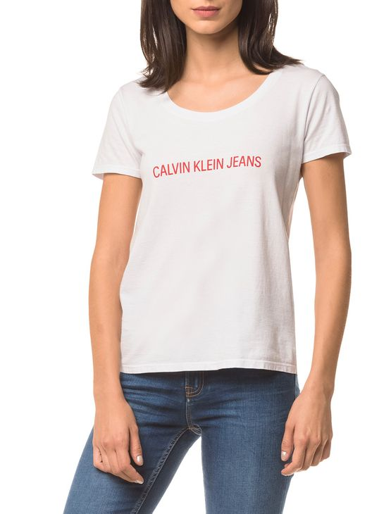 Blusa Ckj Fem Mc Logo Frente - Branco 2 - M