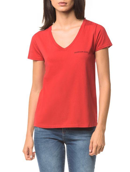 Blusa Ckj Fem Mc Logo Peito - Vermelho - PP