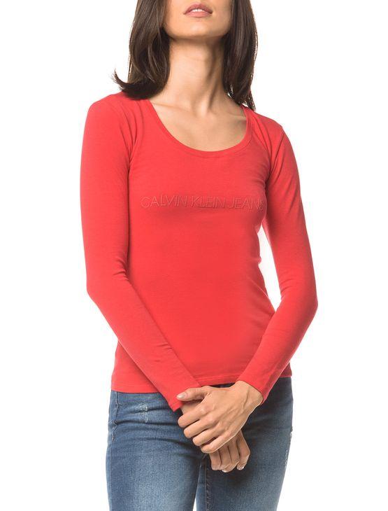 Blusa Ckj Fem Ml Logo - Vermelho - P