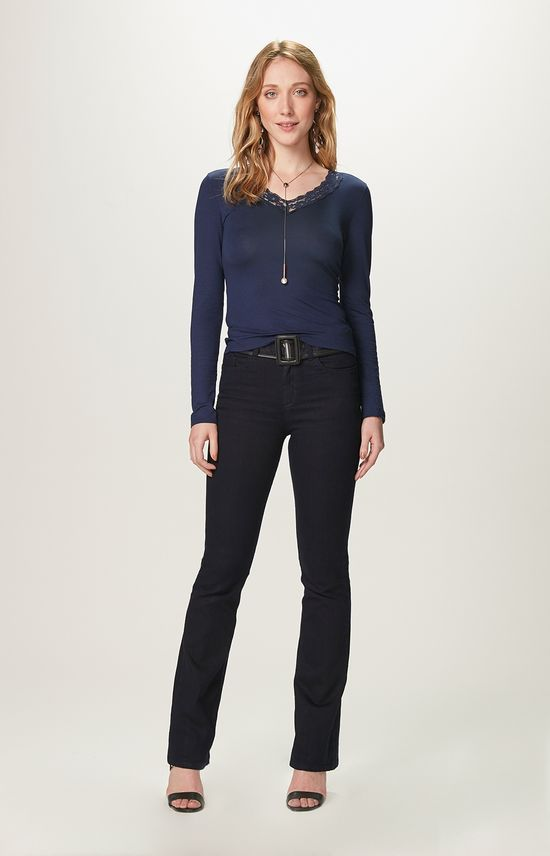 Blusa com Renda Malwee Azul Escuro - GG