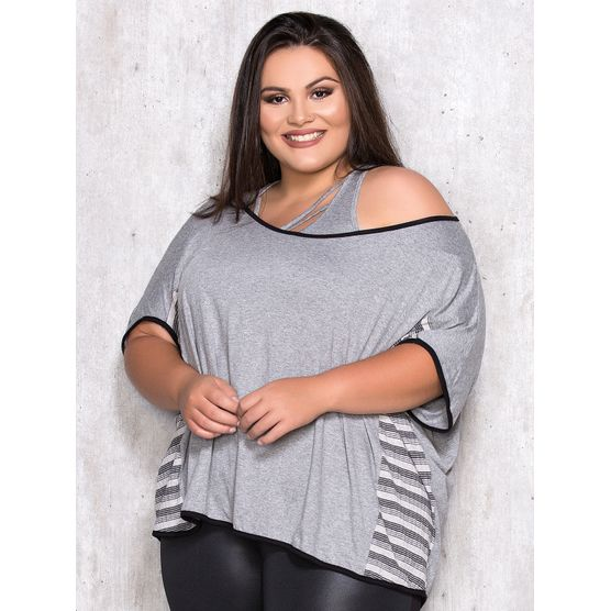 Blusa com Top Plus Size Lateral Listrada M