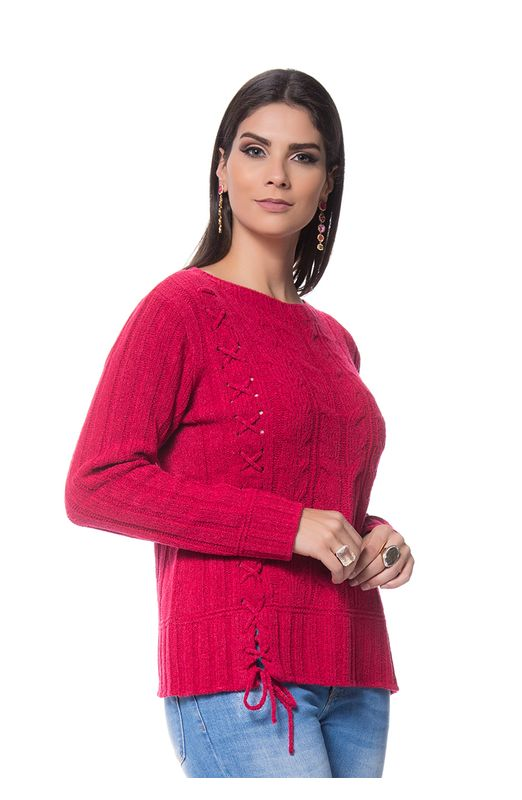 Blusa Cordão Lateral Tricot Pink