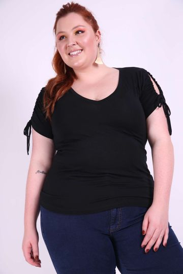 Blusa Coulisse Plus Size Preto GG