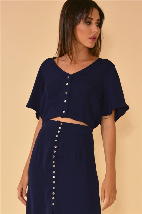 Blusa Cropped Botões - Azul Marinho Tamanho: P