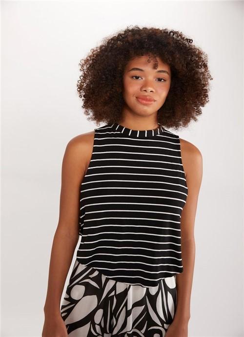 Blusa Cropped Listra Branco/preto P
