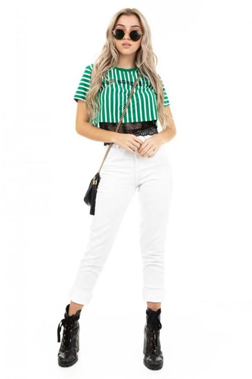 Blusa Cropped Listrada com Lettering BL4383 - Kam Bess