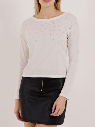 Blusa Cropped Moletinho Feminina Off White