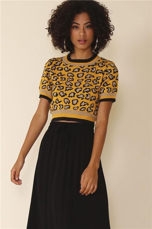 Blusa Cropped Tricot Onça - Amarelo Tamanho: G