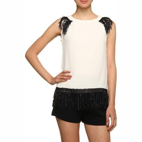 Blusa de Crepe Wasabi Glam Franjas