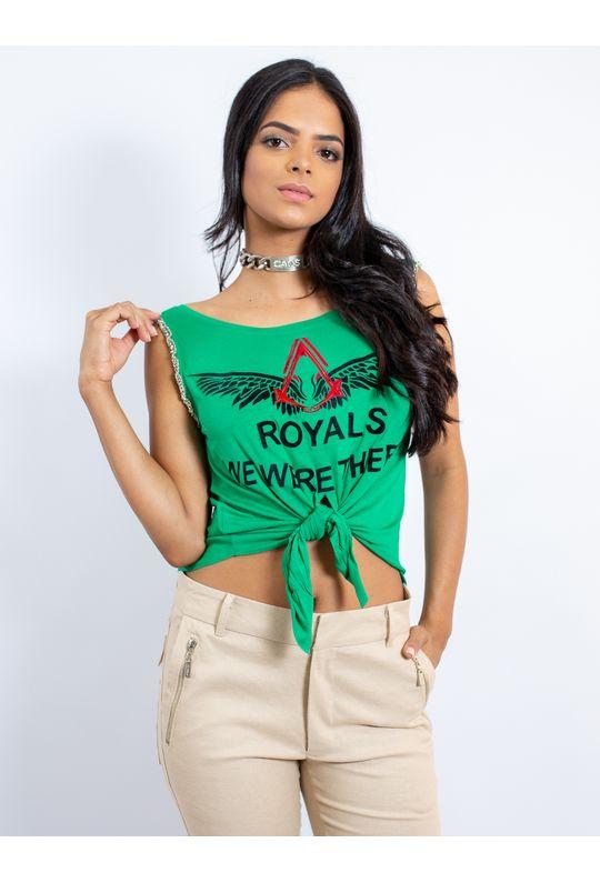 Blusa de Malha de Amarrar na Frente Silk Royals - P