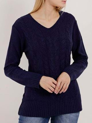 Blusa de Tricot Feminina Azul Marinho