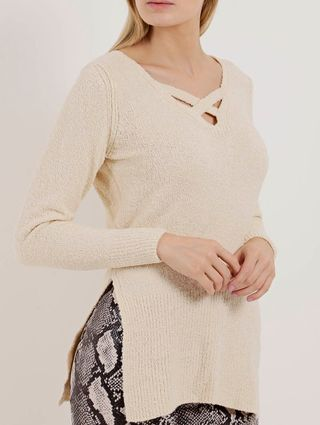 Blusa de Tricot Feminina Bege