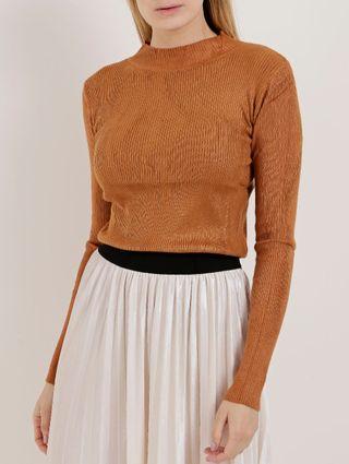 Blusa de Tricot Feminina Caramelo
