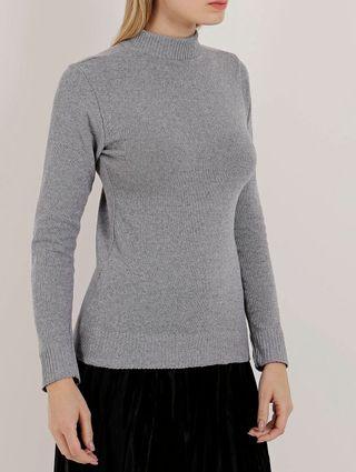 Blusa de Tricot Feminina Cinza