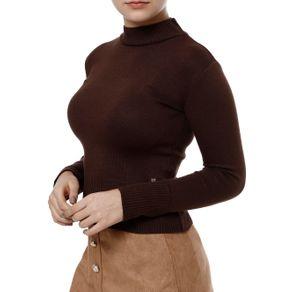 Blusa de Tricot Feminina Marrom M