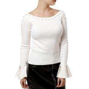 Blusa de Tricot Feminina Off White M
