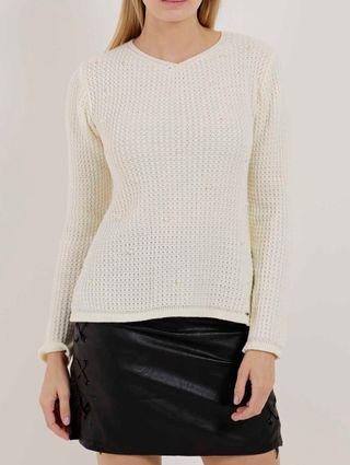 Blusa de Tricot Feminina Off White