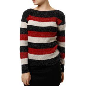 Blusa de Tricot Feminina Preto/vermelho