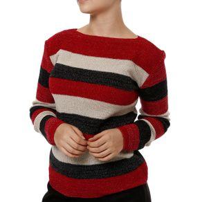Blusa de Tricot Feminina Vermelho/bege