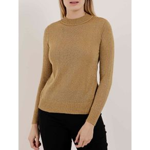 Blusa de Tricot Lurex Feminina Dourado M