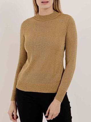 Blusa de Tricot Lurex Feminina Dourado