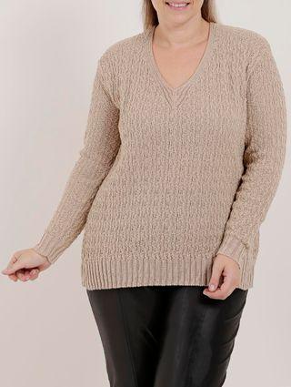 Blusa de Tricot Plus Size Feminina Bege
