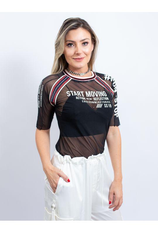 Blusa de Tule com Silk Start Moving e Bordado - P