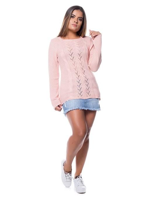 Blusa Decot Quadrado Tricot Rosa Prata