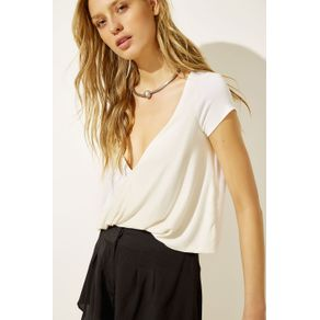 Blusa Decote Torcido Off White - G