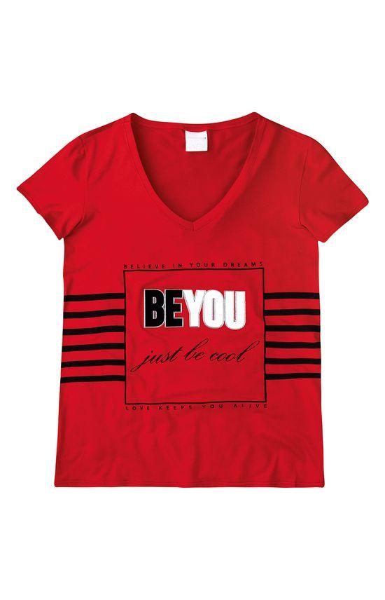 Blusa Decote V Estampada Enfim Vermelho - M