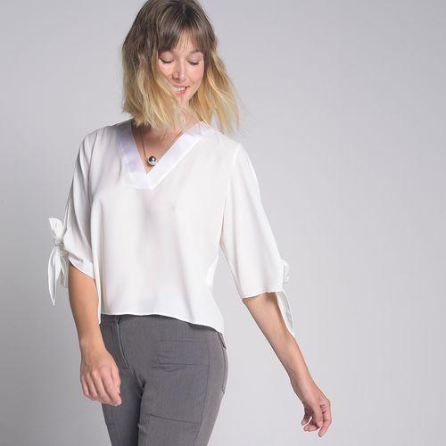 Blusa Decote V Off White - GG