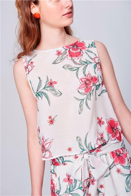 Blusa Estampa Floral Decote com Babados