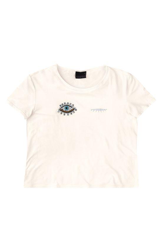 Blusa Estampa Perolada & Aplique Enfim Branco - G