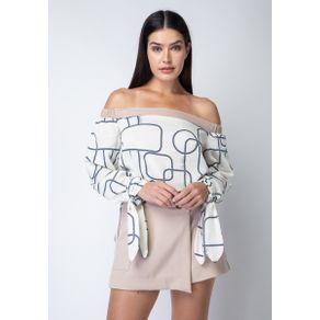 Blusa Estampada com Amarração Marrom G