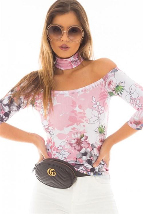 Blusa Estampada com Gola Choker BL3593 - Kam Bess