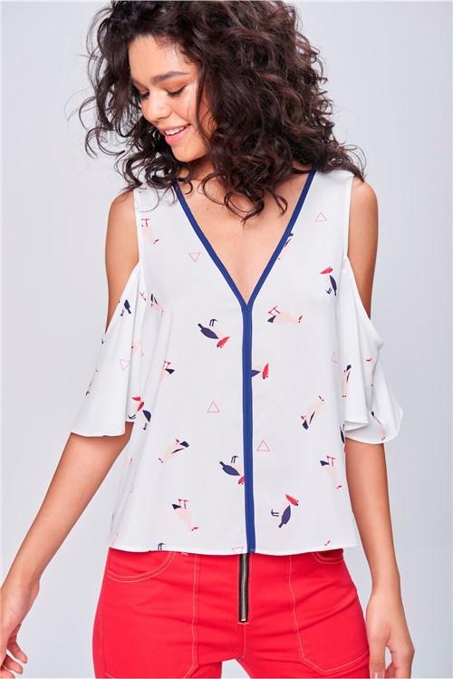 Blusa Estampada com Ombro Vazado