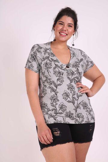 Blusa Estampada Plus Size Cinza G