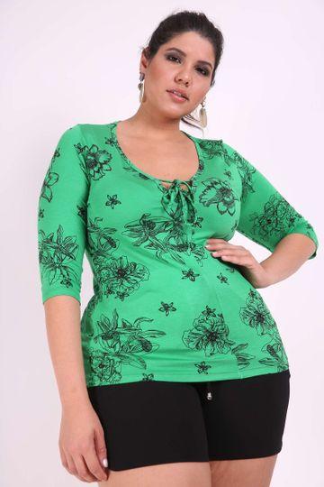 Blusa Estampada Plus Size Verde GG