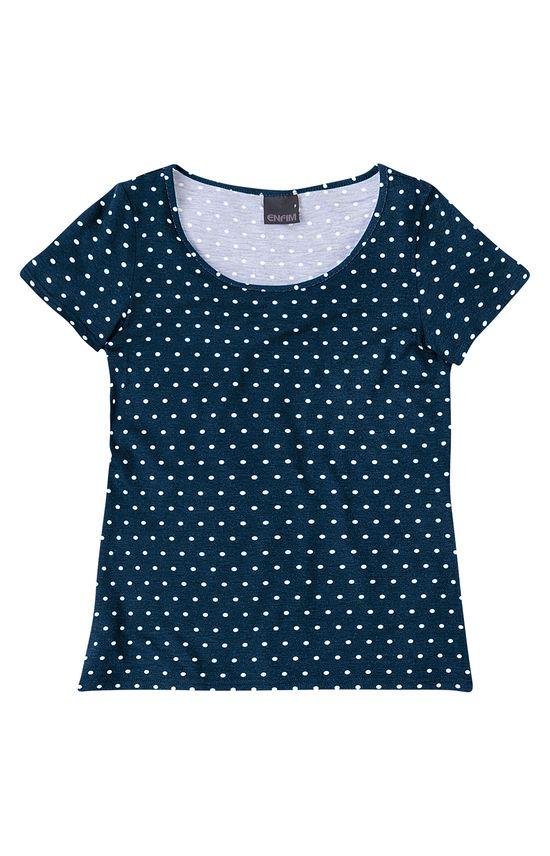 Blusa Estampada Poás Enfim Azul Escuro - G