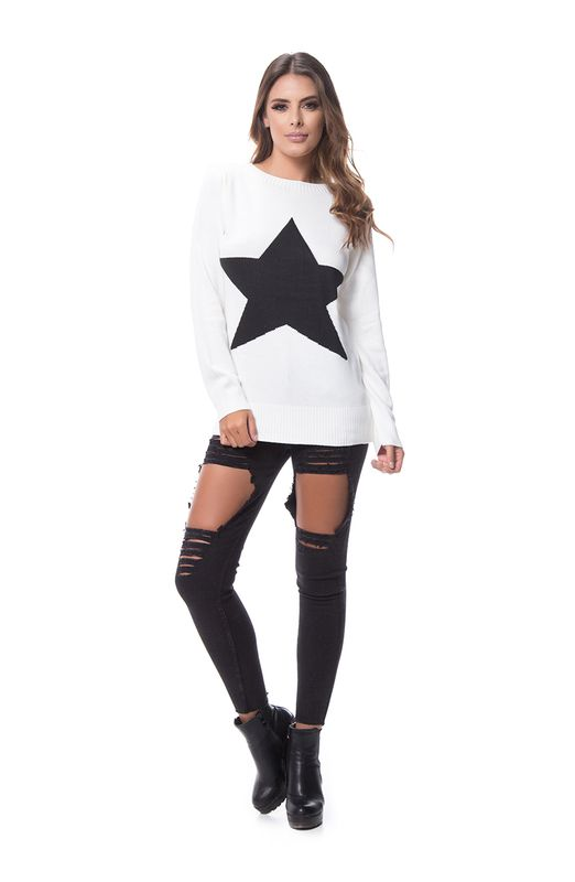 Blusa Estrela Tricot Off White