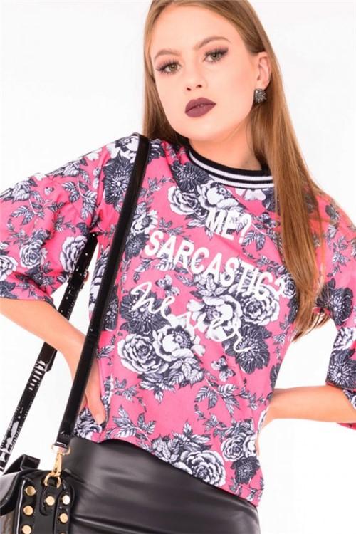 Blusa Feminina Estampa Floral ML0520 - Kam Bess