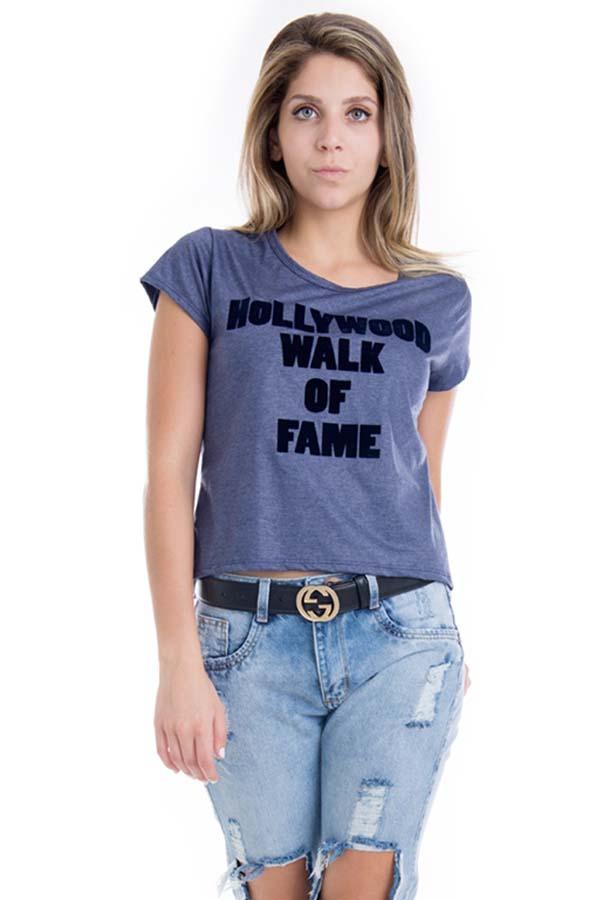 Blusa Feminina Hollywood com Estampa Flocada BL3411