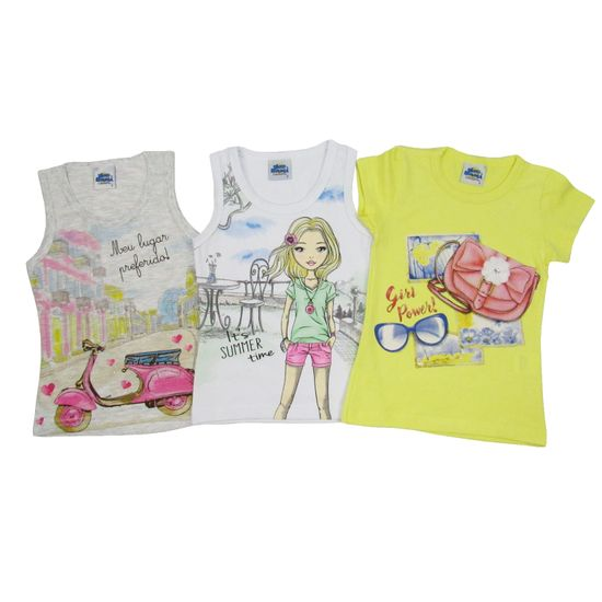 Blusa Feminina Infantil Kit com 3 Unidades Cinza Mescla, Branca e Amarela-6