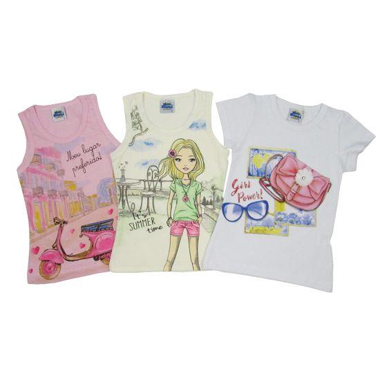 Blusa Feminina Infantil Kit com 3 Unidades Rosa, Creme e Branca-4