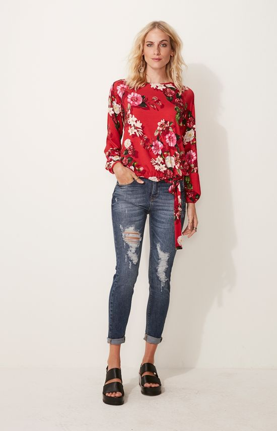 Blusa Floral Adulto Malwee Vermelho - G