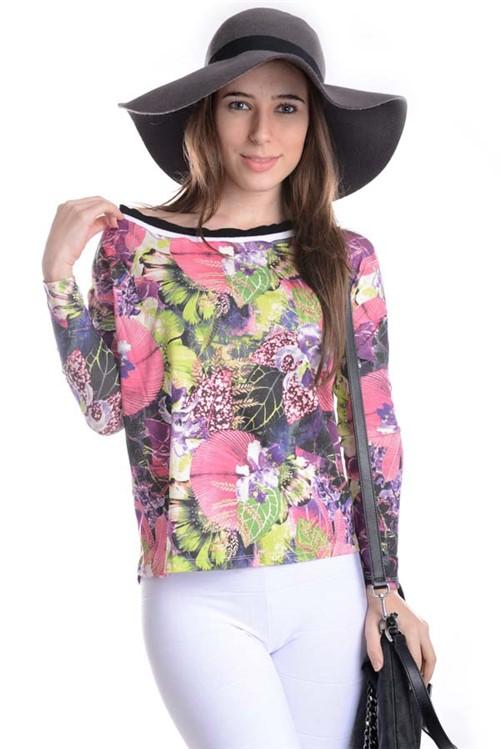 Blusa Floral Ombro Caído