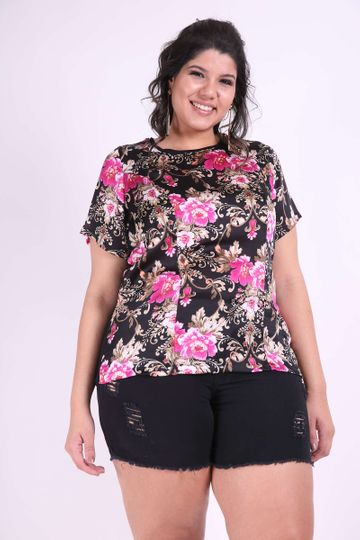 Blusa Floral Plus Size Preto PP