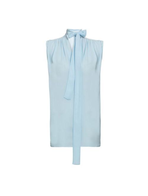 Blusa Franzido de Seda Azul Tamanho 38